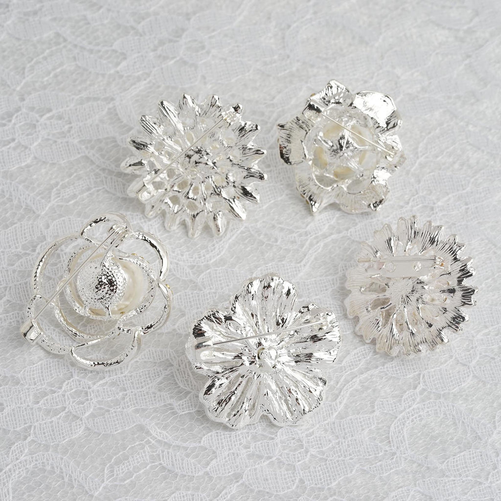 5 Pcs | Assorted Silver Plated Rhinestone Brooches with Pearl Center | Floral Sash Pin Brooch Bouquet Decor