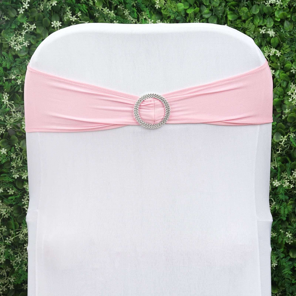 5 Pack Blush Stretch Spandex Banquet Chair Sash Band With Silver Diamond Ring Slide Buckle