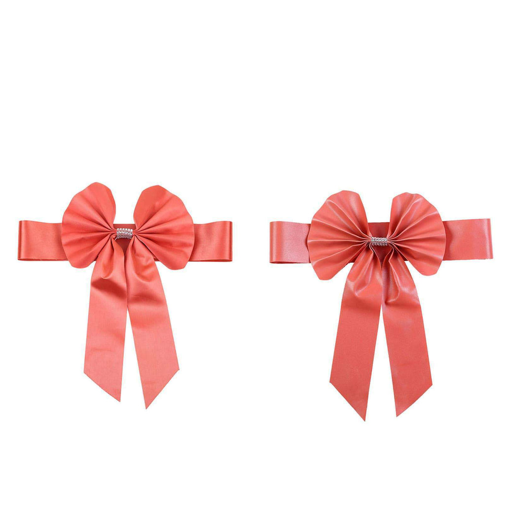 5 Pack | Coral | Reversible Chair Sashes with Buckle | Double Sided Bow Tie Chair Bands | Satin & Faux Leather