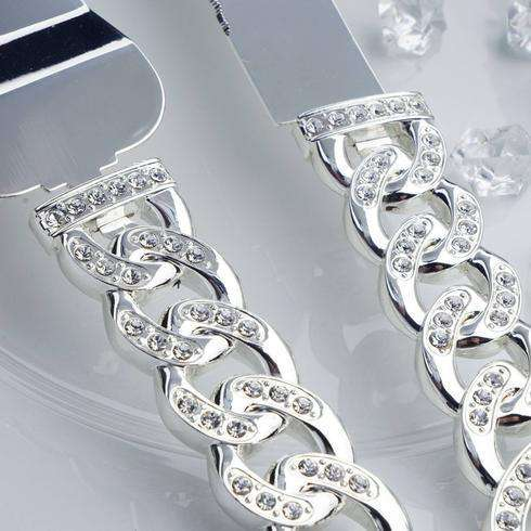 Bedazzling Rhinestone Chain Stainless Steel Server Set