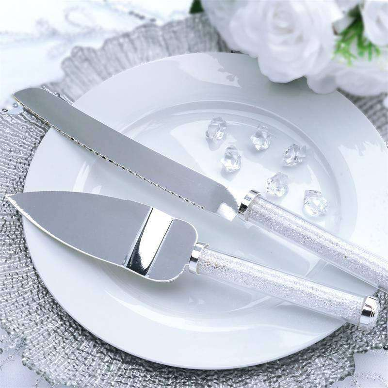 Diamond Stemmed Stainless Steel Serving Set