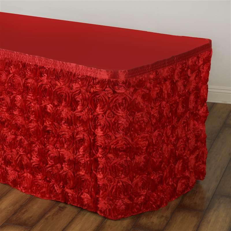 14FT Wholesale Rosette 3D Satin Table Skirt For Restaurant Party Event Decoration - RED