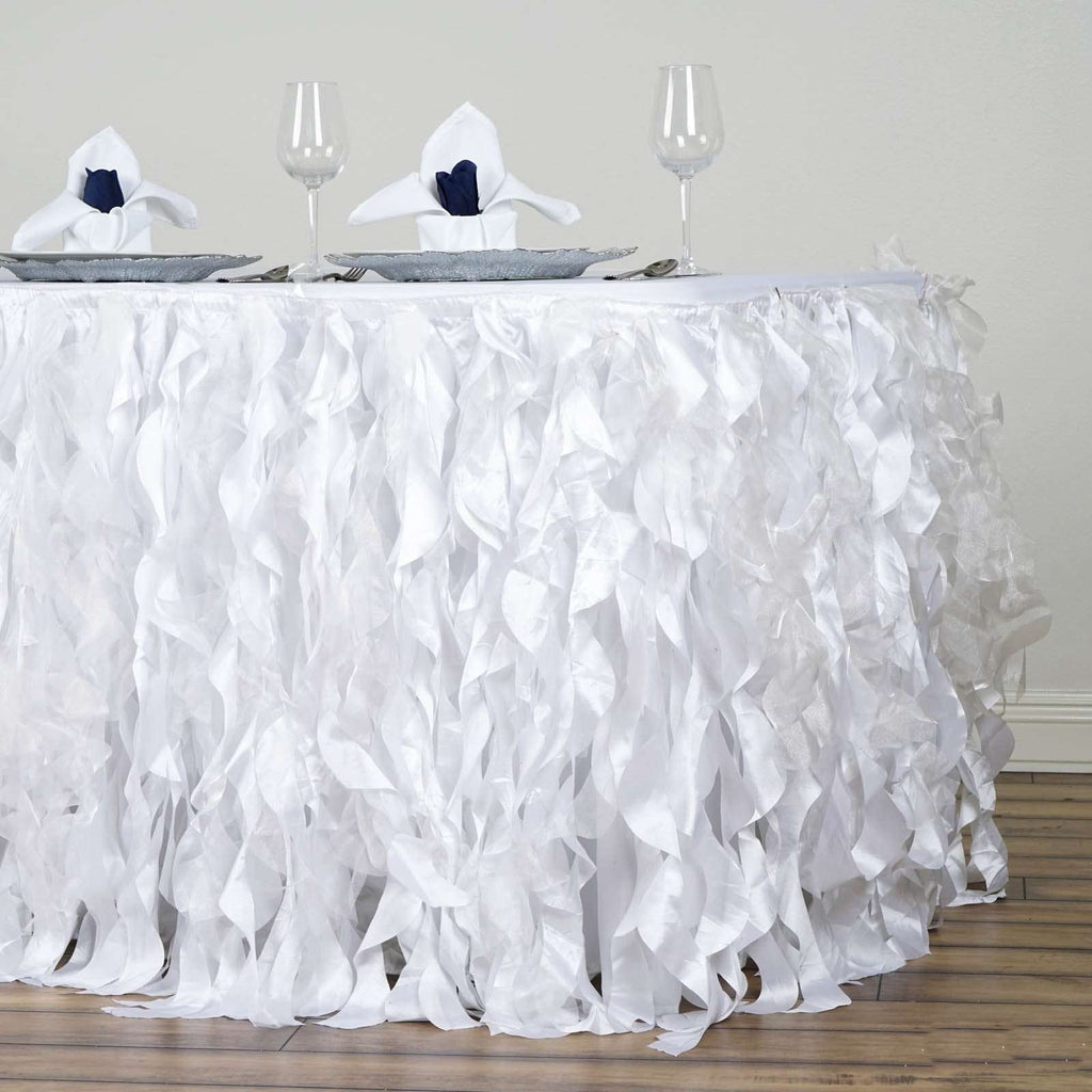 21FT Wholesale White Enchanting Pleated Curly Willow Taffeta Wedding Party Table Skirt