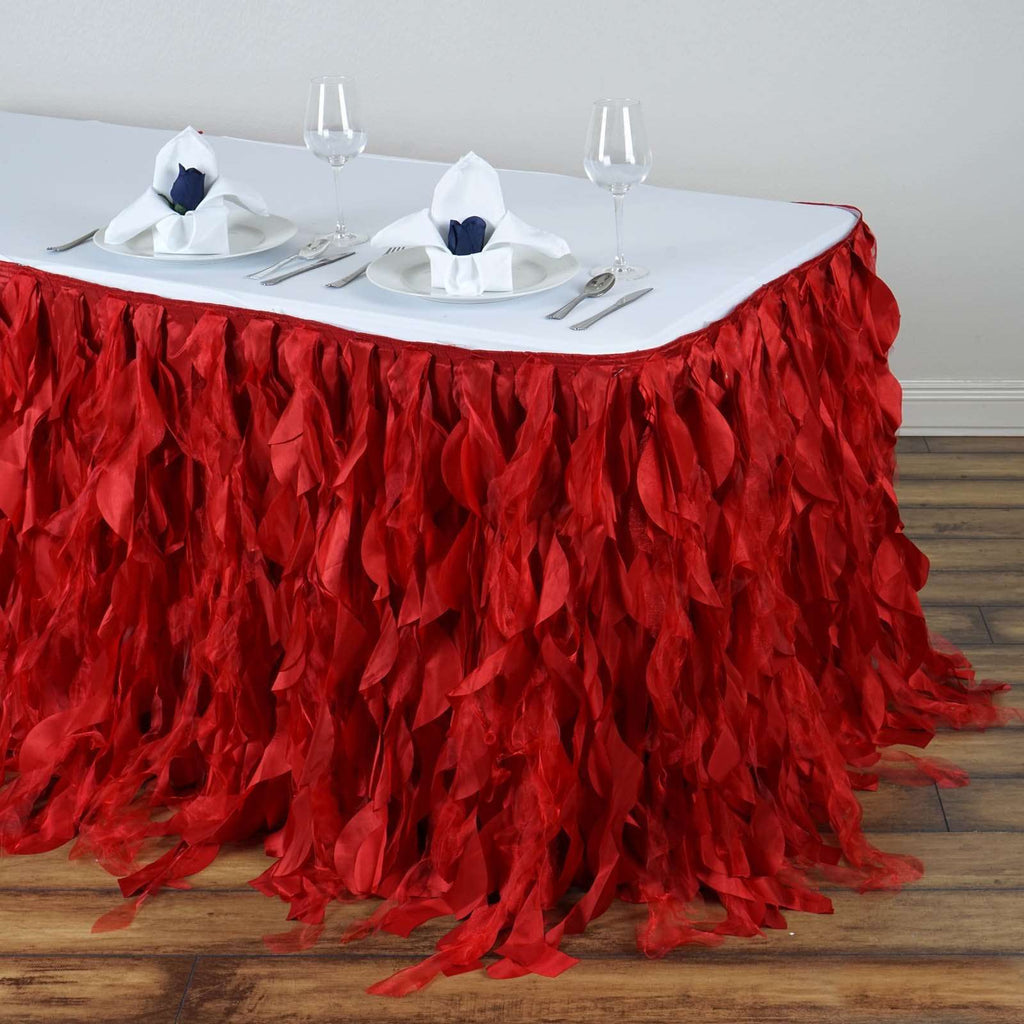 17FT Wholesale Red Enchanting Pleated Curly Willow Taffeta Wedding Party Table Skirt