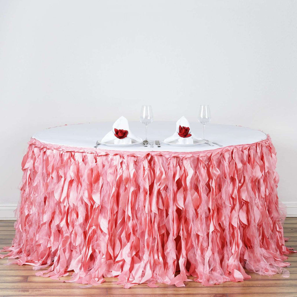 17FT Wholesale Rose Quartz Enchanting Pleated Curly Willow Taffeta Wedding Party Table Skirt