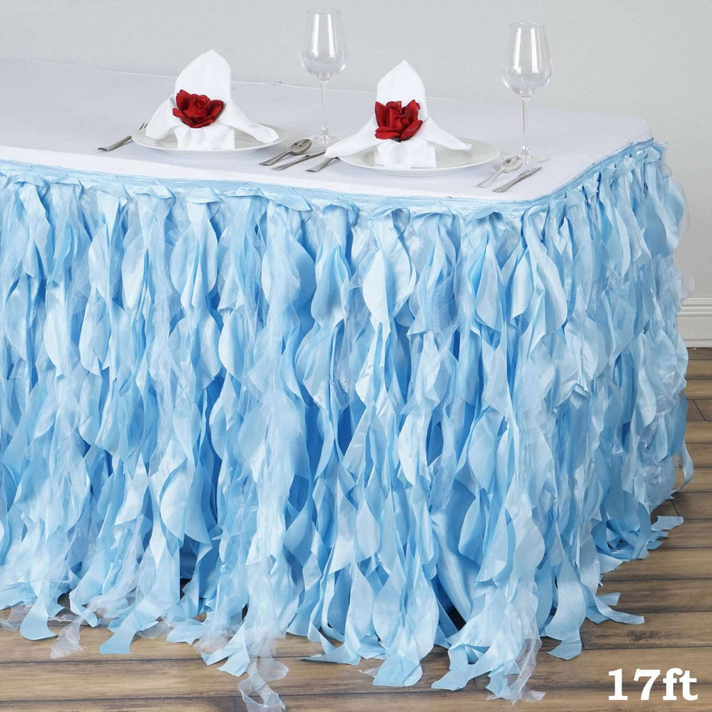 17ft Enchanting Curly Willow Taffeta Table Skirt - Serenity Blue
