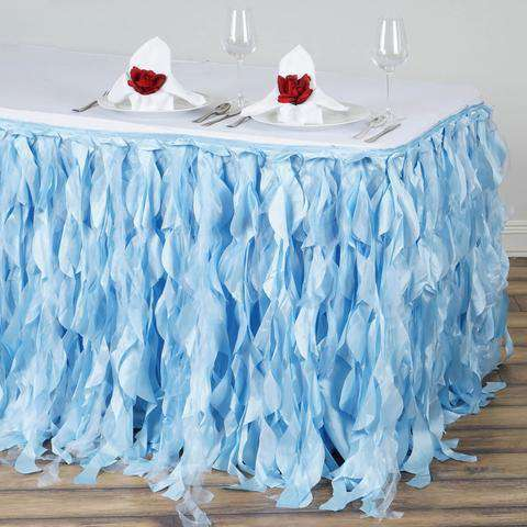 17FT Wholesale Serenity Blue Enchanting Pleated Curly Willow Taffeta Wedding Party Table Skirt