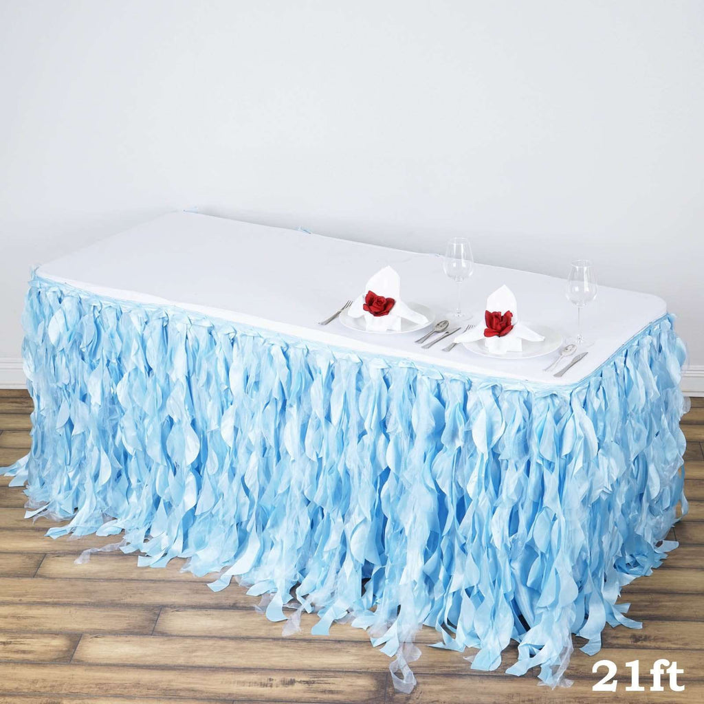 21ft Enchanting Curly Willow Taffeta Table Skirt - Serenity Blue
