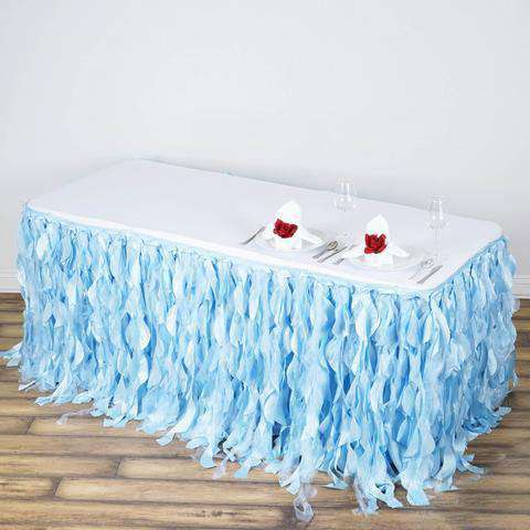 21FT Wholesale Serenity Blue Enchanting Pleated Curly Willow Taffeta Wedding Party Table Skirt