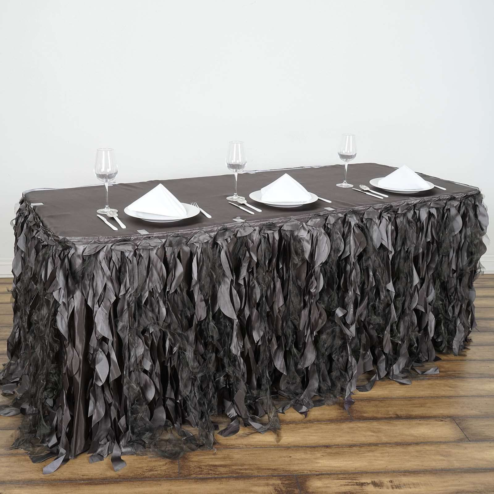 21ft Wholesale Charcoal Grey Enchanting Pleated Curly Willow Taffeta