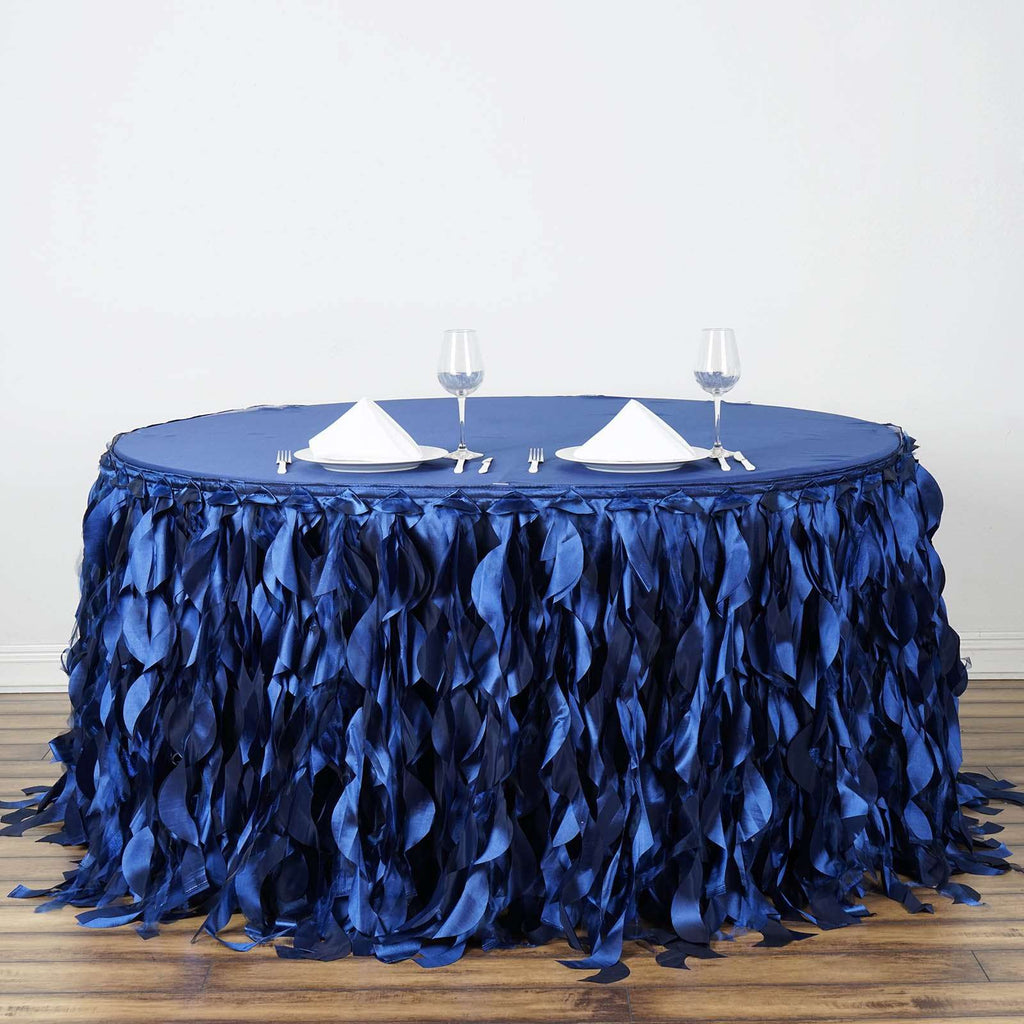 14FT Wholesale Navy Blue Curly Willow Taffeta Table Skirt For Wedding Party Event