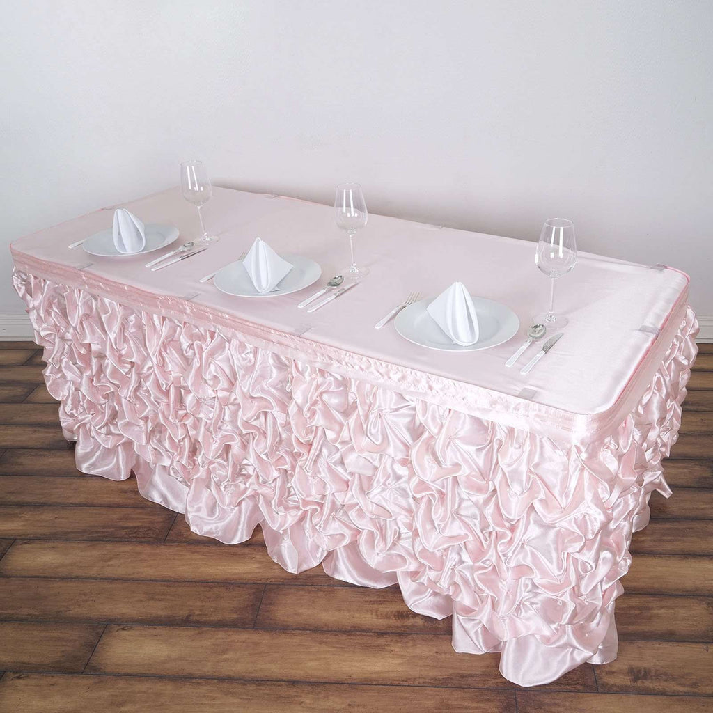 14FT Blush Chambury Casa Pleated Satin Lamour Table Skirt For Wedding Party Event