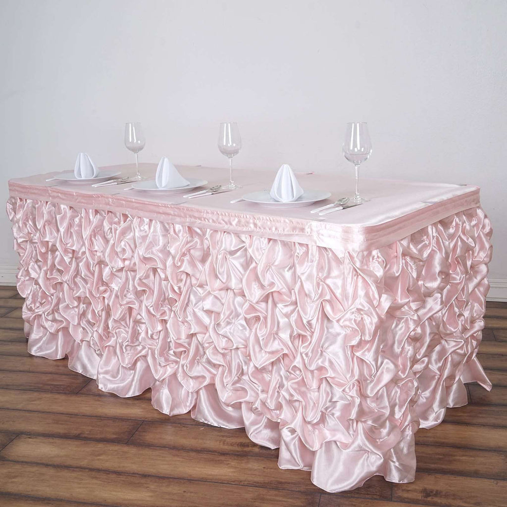 17FT Blush Chambury Casa Pleated Satin Lamour Table Skirt For Wedding Party Event