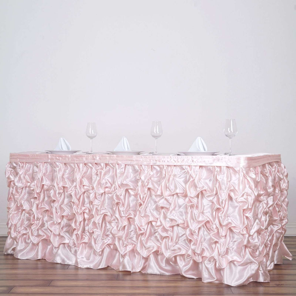 21FT Blush Chambury Casa Pleated Satin Lamour Table Skirt For Wedding Party Event