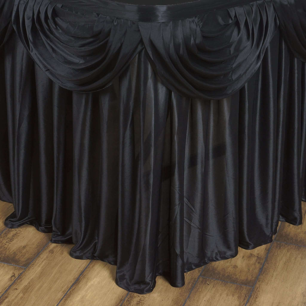 Black Double Drape Table Skirt / Satin - 17'