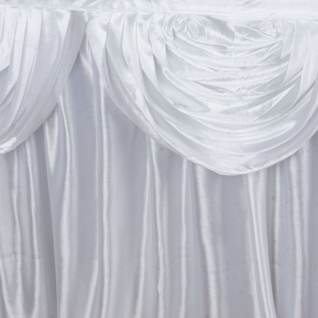 White Satin Double Drape Table Skirt 17'