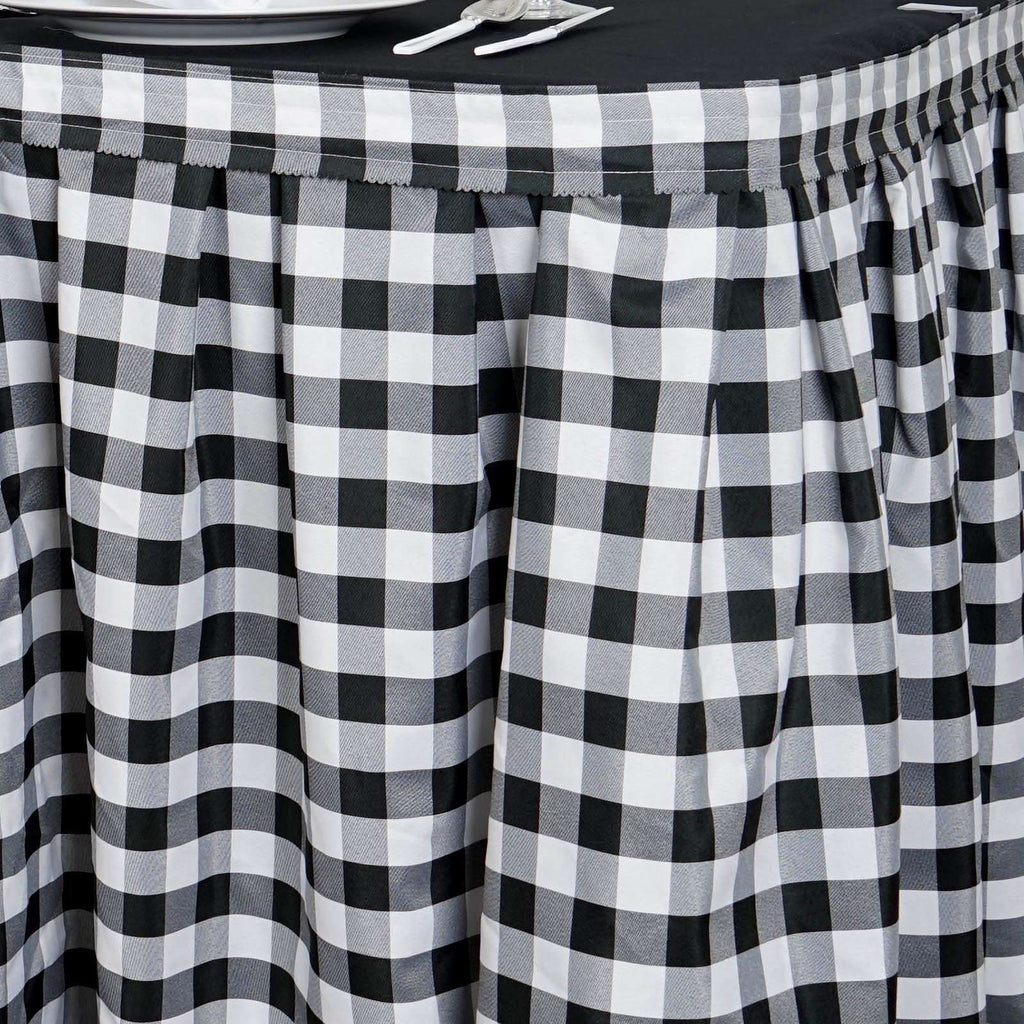 14FT White/Black Checkered Gingham Polyester Table Skirt For Outdoor Picnic Birthday
