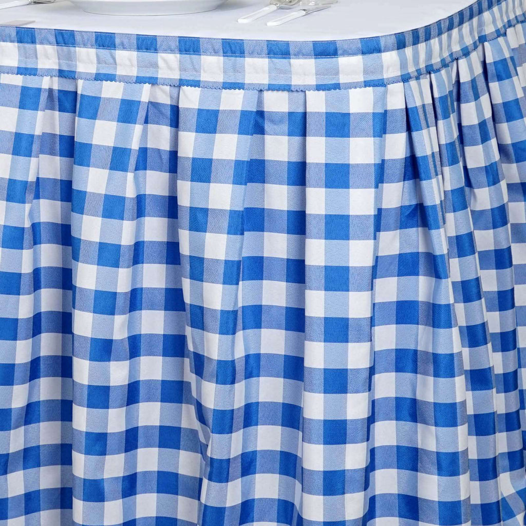 14FT White/Blue Checkered Gingham Polyester Table Skirt For Outdoor Picnic Birthday