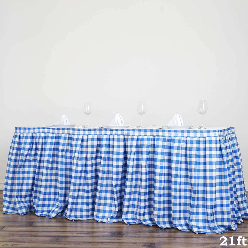 21FT White/Blue Checkered Gingham Polyester Table Skirt For Outdoor Picnic Birthday