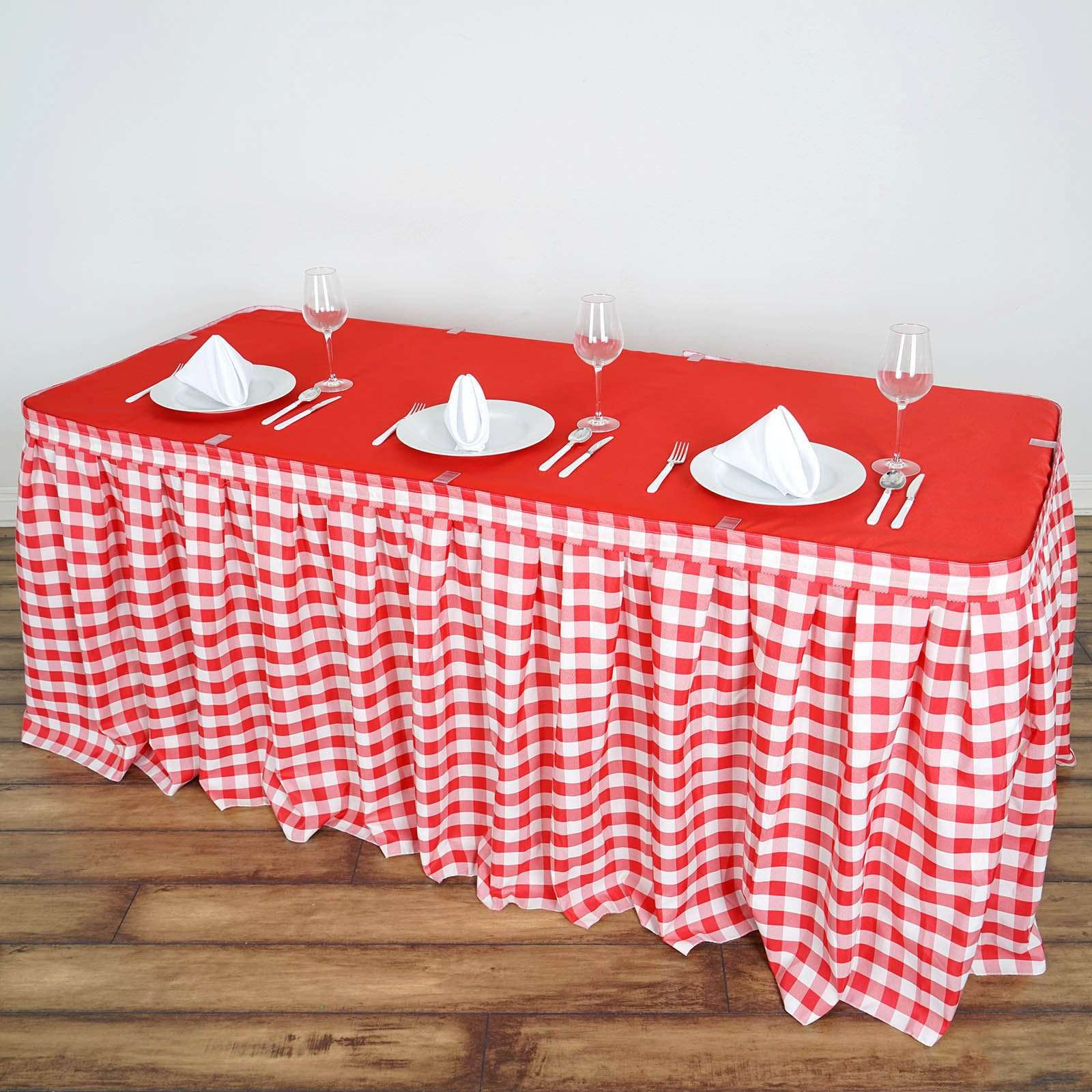 8861df57cf 14FT White/Red Checkered Gingham Polyester Table Skirt For Outdoor Pic –  ChairCoverFactory
