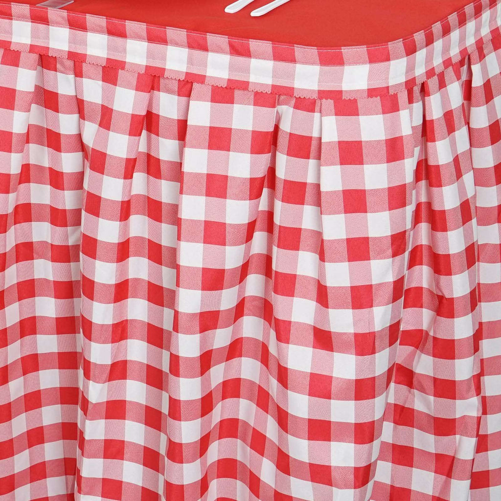 21FT White/Red Checkered Gingham Polyester Table Skirt For Outdoor Picnic Birthday