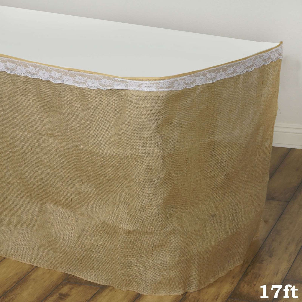 17ft Wholesale Natural Jute Burlap Table Skirt Wedding Outdoor Party
