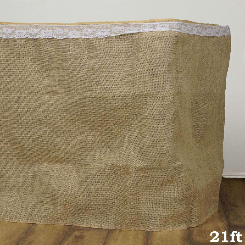 21ft Wholesale Natural Jute Burlap Table Skirt Wedding Outdoor Party