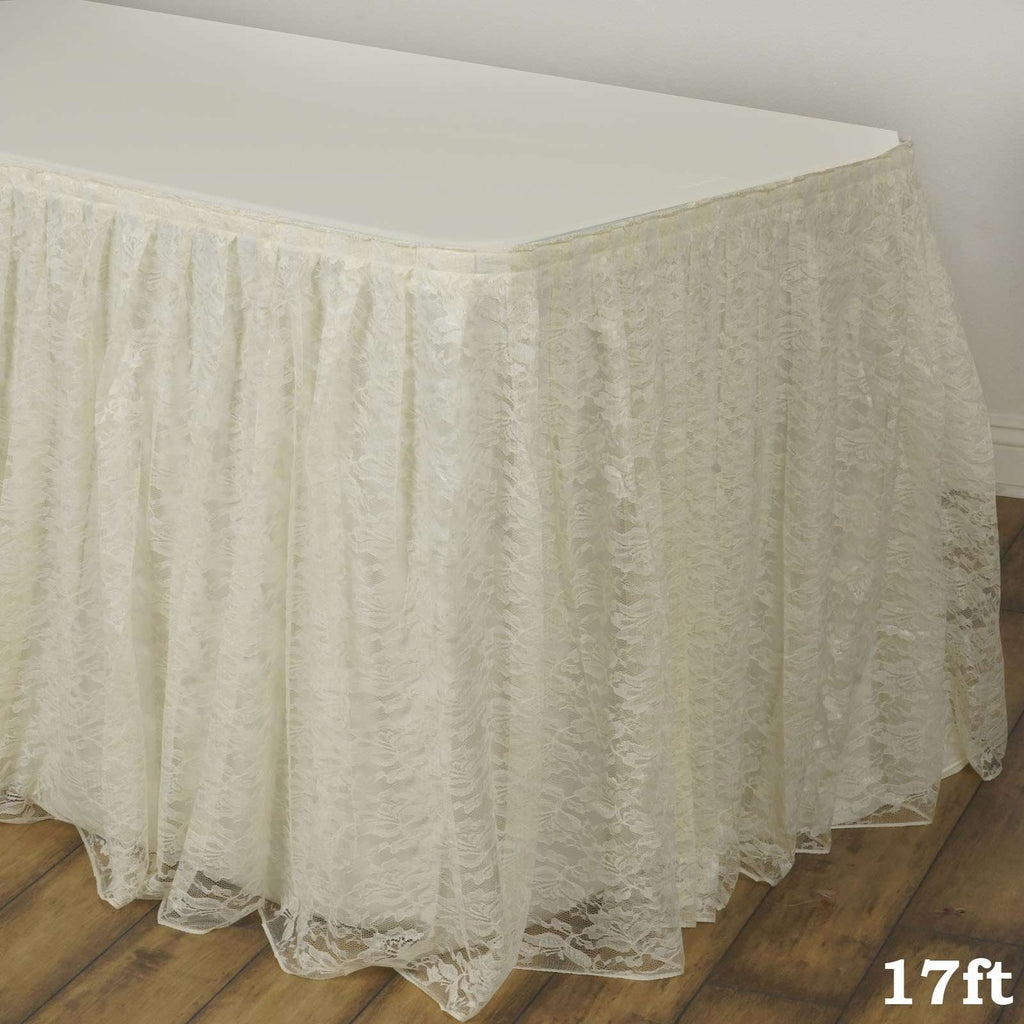 17FT IVORY Premium Wholesale Polyester Lace Table Skirt For Wedding Banquet Restaurant