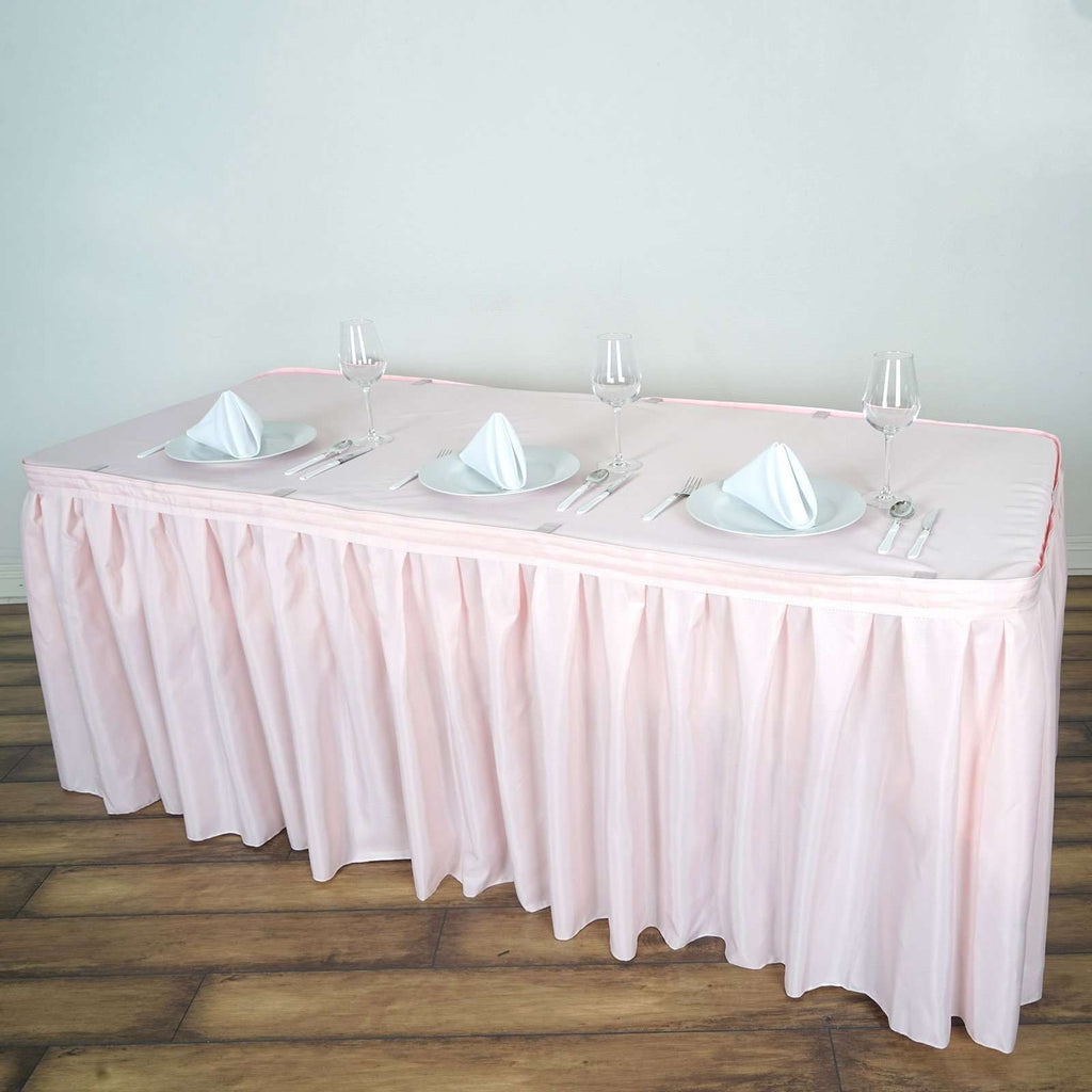 14FT Wholesale Blush Pleated Polyester Table Skirt For Wedding Party Event