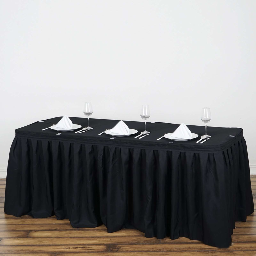 17FT Wholesale Black Pleated Polyester Table Skirt For Wedding Party Event