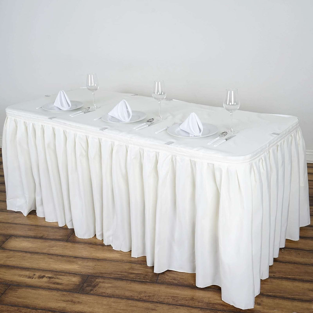 21FT Wholesale Ivory Pleated Polyester Table Skirt For Wedding Party Event