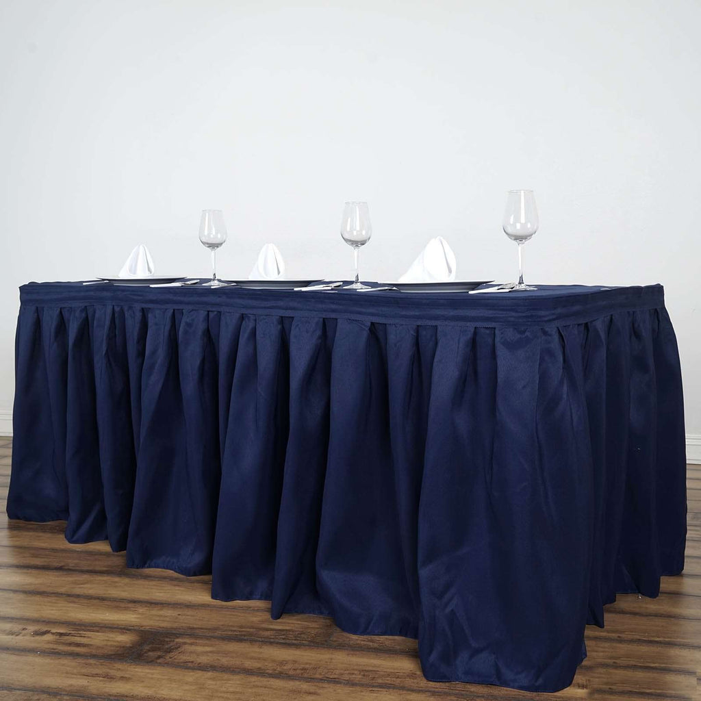 17FT Wholesale Navy Blue Pleated Polyester Table Skirt For Wedding Party Event