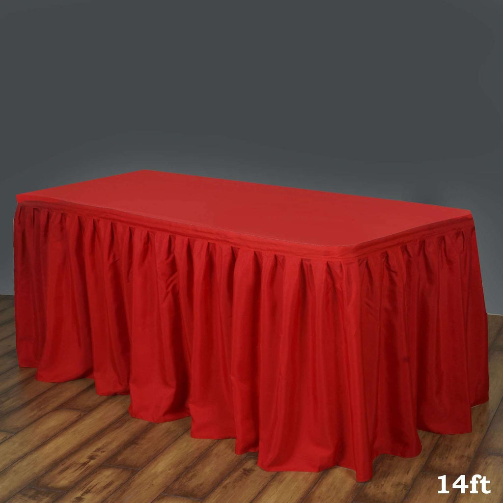 14FT RED Wholesale Polyester Table Skirt For Wedding Banquet Restaurant