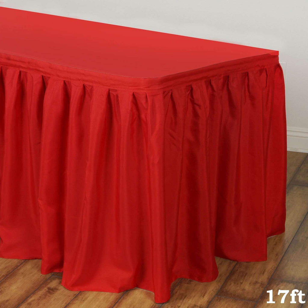 17FT RED Wholesale Polyester Table Skirt For Wedding Banquet Restaurant