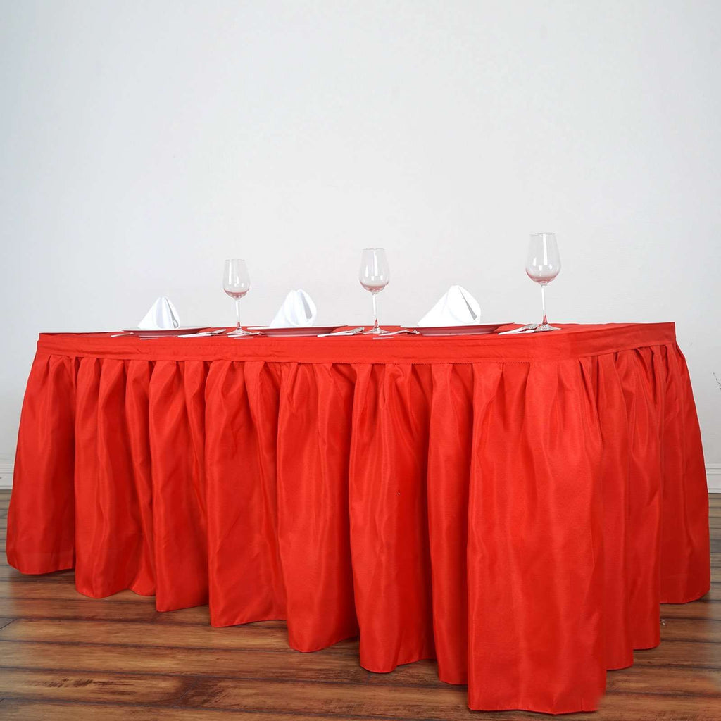 17FT Wholesale Red Pleated Polyester Table Skirt For Wedding Party Event