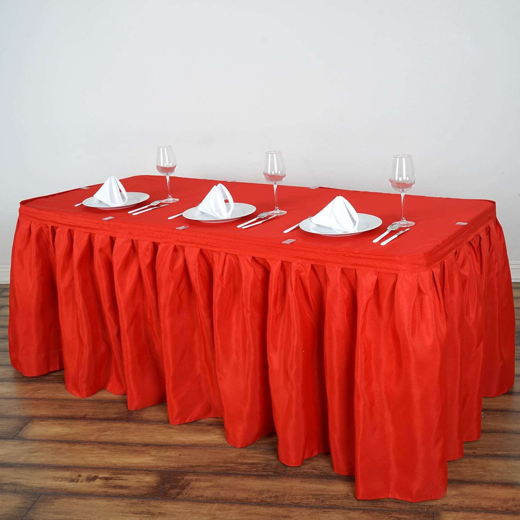 21FT Wholesale Red Pleated Polyester Table Skirt For Wedding Party Event