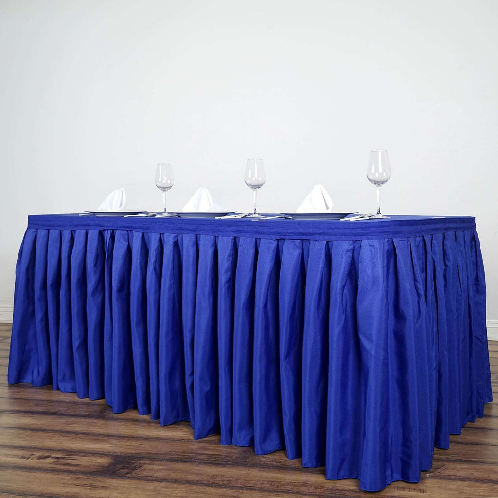 17FT Wholesale Royal Blue Pleated Polyester Table Skirt For Wedding Party Event