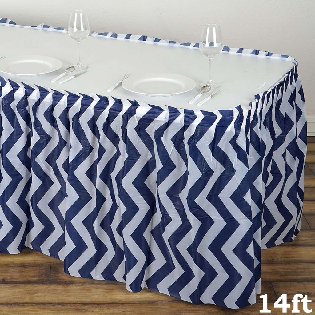 14FT Navy Blue Disposable Waterproof Plastic Chevron Banquet Table Skirt