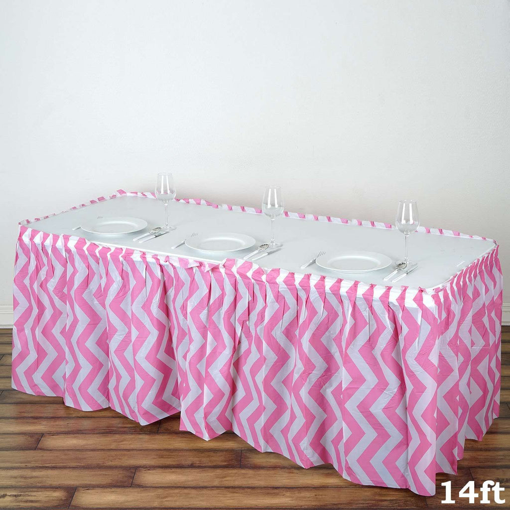 14Ft. Pink Pleated Spill Proof & Waterproof Wipe Clean Chevron Table Skirt