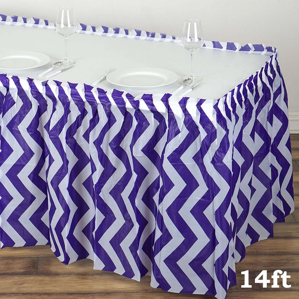 14Ft. Purple Pleated Spill Proof & Waterproof Wipe Clean Chevron Table Skirt