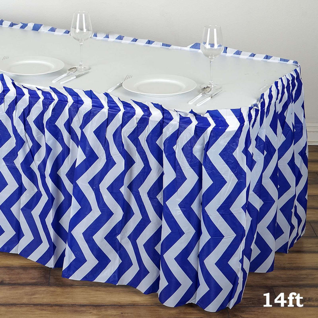 14FT Royal Blue Disposable Waterproof Plastic Chevron Banquet Table Skirt