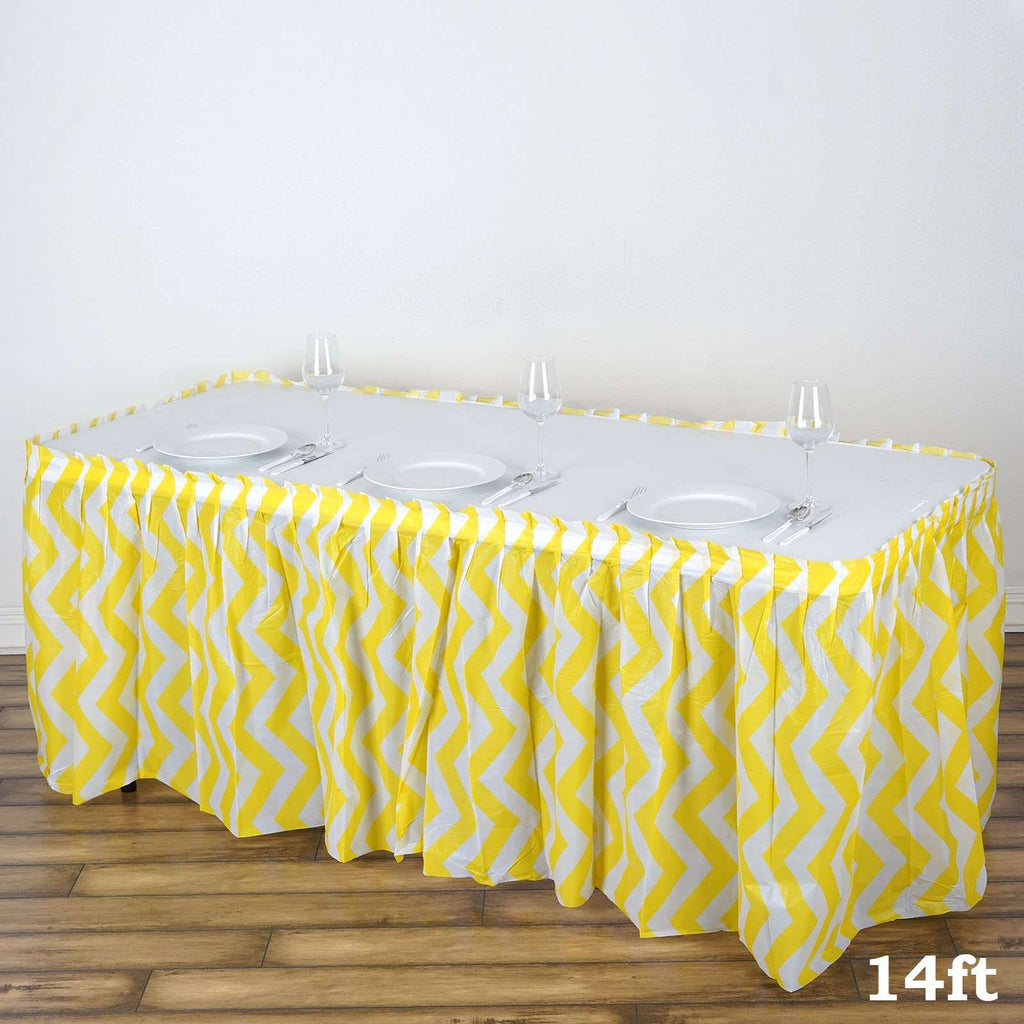 14Ft. Yellow Pleated Spill Proof & Waterproof Wipe Clean Chevron Table Skirt