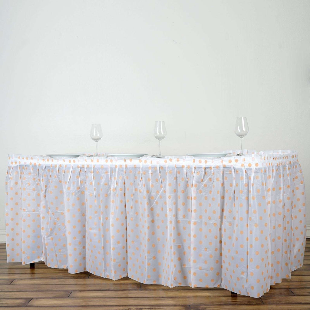 14FT White/Blush Polka Dots Pleated Rectangular Disposable Waterproof Plastic Table Skirt
