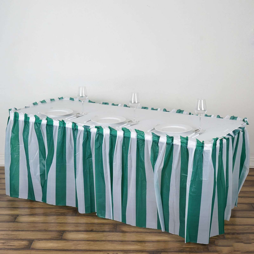 14Ft. Pleated Spill Proof & Waterproof Wipe Clean Stripe Table Skirt - White/Hunter Green