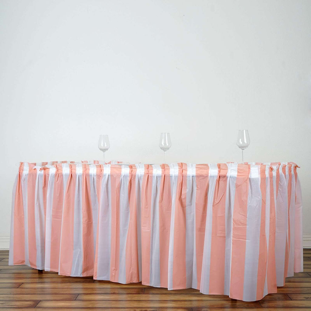 14Ft. Pleated Spill Proof & Waterproof Wipe Clean Stripe Table Skirt - White/Blush
