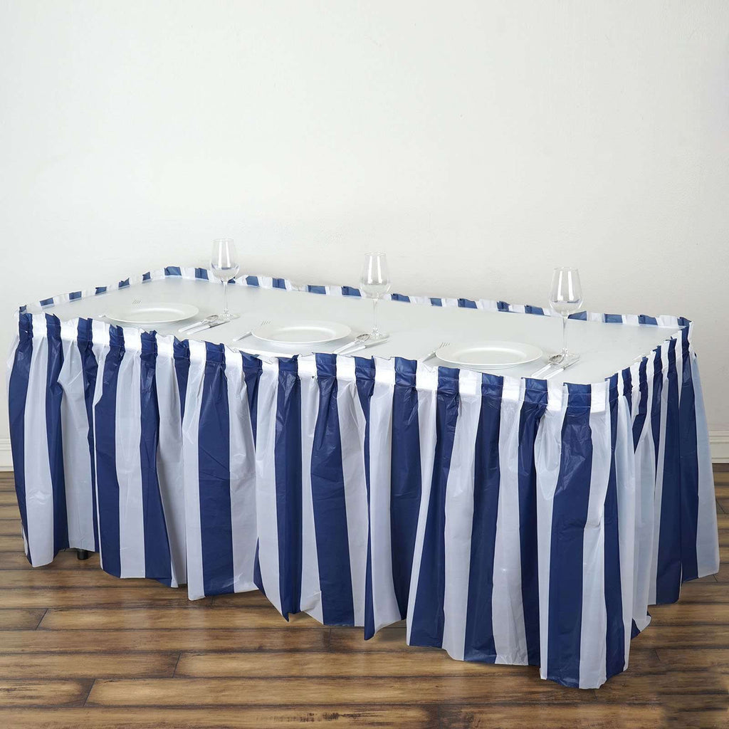 14Ft. Pleated Spill Proof & Waterproof Wipe Clean Stripe Table Skirt - White/Navy Blue