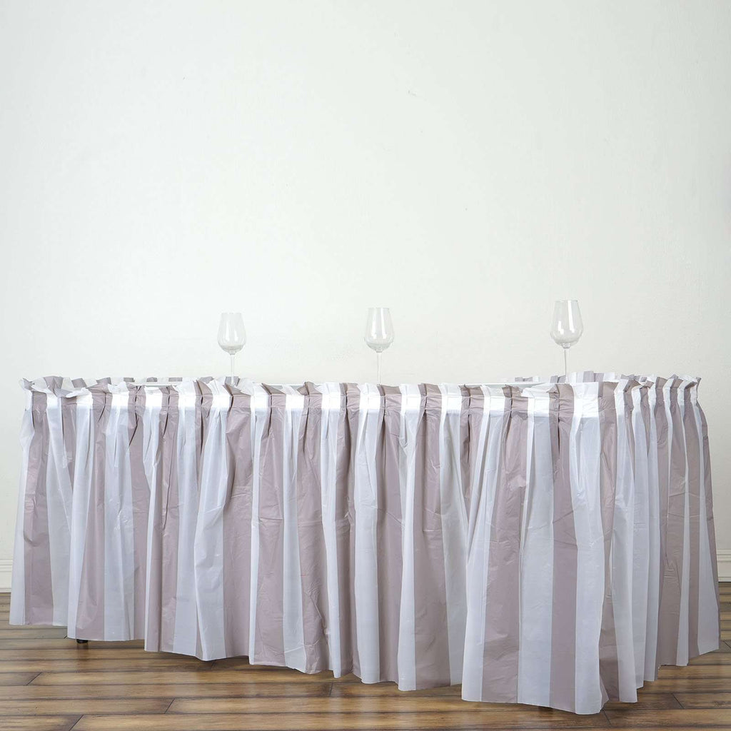 14Ft. Pleated Spill Proof & Waterproof Wipe Clean Stripe Table Skirt - White/Silver