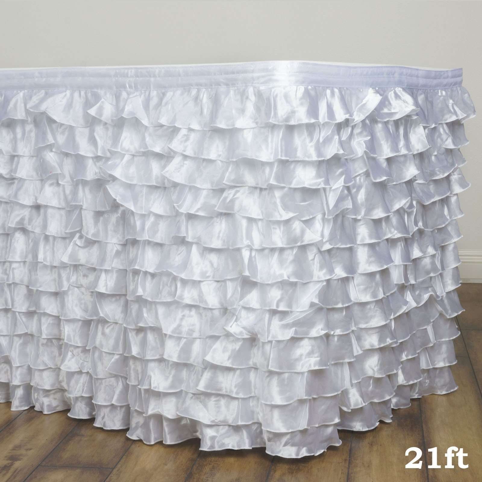 21ft Satin Ruffle Table Skirt White