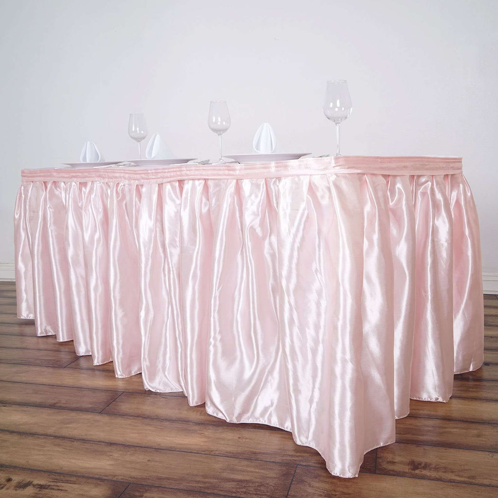 14FT Wholesale Blush Satin Pleated Table Skirt For Wedding Party Event Decoration