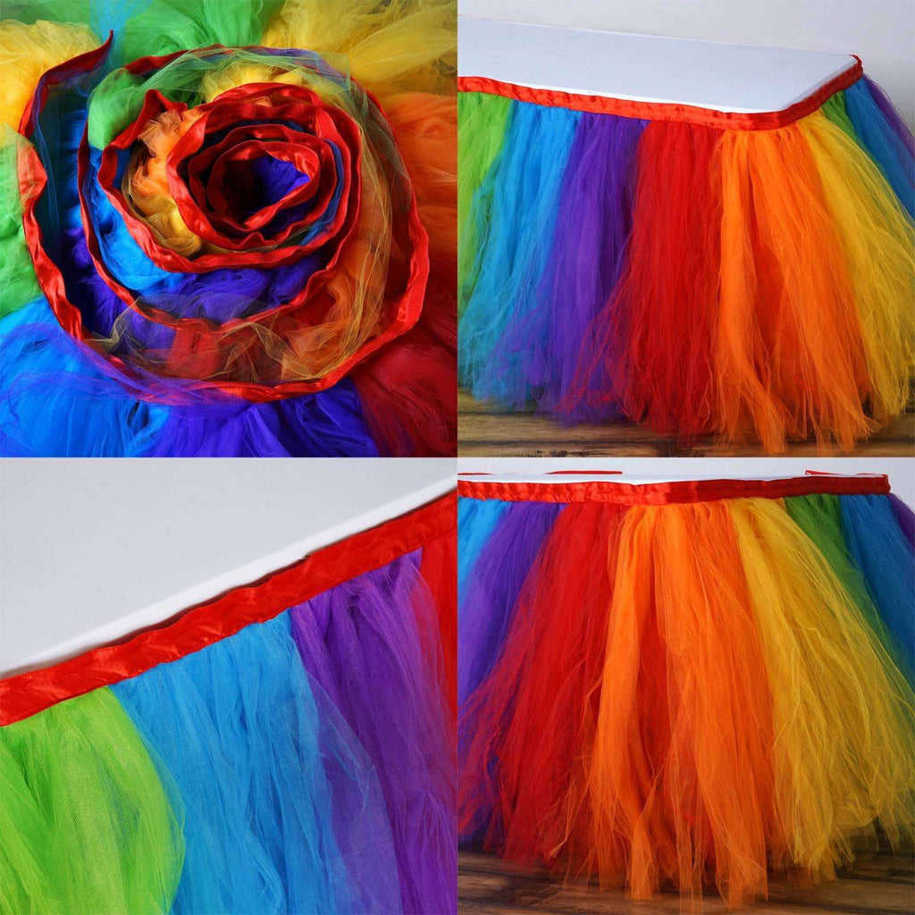 14ft Tantalizing 8 Layer Tulle Table Skirt - Rainbow